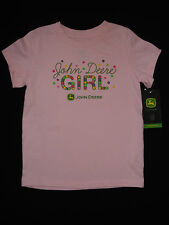 JOHN DEERE Baby Toddler Girl Pink Tractor Floral SS TShirt 12M 18M 24M 2T 3T 4T