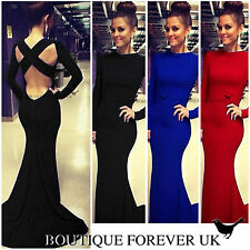CELEB WOMENS LONG SLEEVE SEXY FORMAL BALL COCKTAIL PROM PARTY EVENING GOWN DRESS