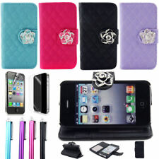 RUBAN For iPhone 4 4S Leather Wallet Card Flip Pouch Case Cover Crystal Flower