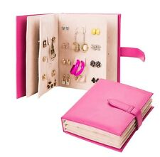 Creative Little Book style PU Leather Jewelry Earring Storage Organizer Box Case