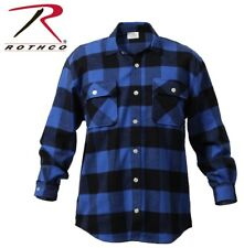 BLUE Extra Heavyweight Brawny Buffalo Plaid Flannel Long Sleeve Shirt 4739