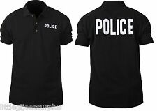 POLICE Black Law Enforcement Double Sided Police Polo Short Sleeve Shirt 7698