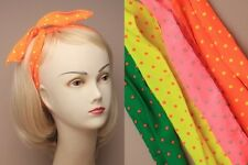Brightly coloured neon spotty fabric wired bandeaux - FB097