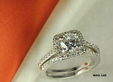 STERLING SILVER  VTG ROUND CZ PAVE BRIDAL ENGAGEMENT RING WEDDING HALO RING SET