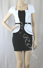 WOMENS CLOTHING SEXY LITTLE BLACK AND WHITE PEPLUM BUSINESS STYLE DRESS