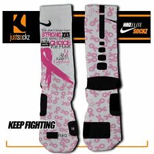 KEEP FIGHTING Custom Nike Elite Socks breast cancer awareness pink ribbon girls