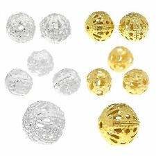 50 Spacer beads 4 6 8 mm filigree silver gold round Ball Spacer Ornamental beads