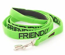 Green Nylon Pet Dog Lead Leash By Friendly Dog Collars + Safety S M L XL Collars