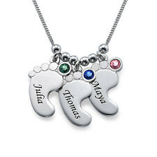 Mom Jewelry - Personalized Baby Feet Necklace with Birthstones, Gift for Mom