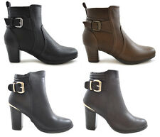 Womens Ladies Block Heel Ankle Boots Mid High Buckle Strap Faux Leather Zip Size