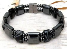 Beautiful Black Onyx Stones Men's  Women's Double Magnetic Bracelet 2 Row