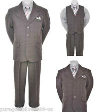 Plaid Charcoal/Dark grey/silver toddler teen boy tuxedo formal suit party