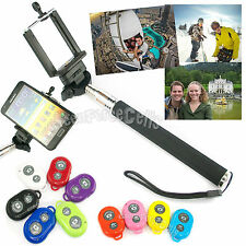 Extendable Selfie Holder Handheld Monopod Stick + Shutter Remote For iPhone LOT