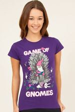FLIP FLOP AND FANG GAME OF GNOMES THRONES PURPLE T SHIRT