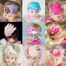 Hot Baby Girl Kid Infant Peacock Feather Headband Flower Hairband Hairdress 1Pcs