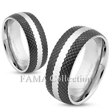 FAMA 8mm Stainless Steel Ring w/ Cross-Etched Black IP & Center Strip Size 9-13