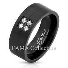 Stylish FAMA 8mm Stainless Steel Brushed Matte Black IP Ring Band 4 CZ Size 9-13