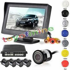 Car Reverse Backup Radar System 4 Parking Sensors LCD Display + Buzzer Alarm NEW