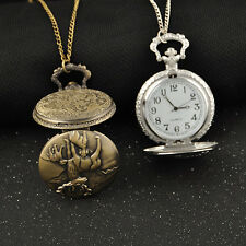 animal deer style Pocket Watch long chain Necklace silver & bronze