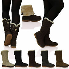 Womens Ladies Quilted Faux Fur Lined Thick Sole Mid Calf Boots Shoes