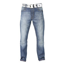 MENS STRAIGHT FIT BELTED JEANS IN DARK & MID WASH (HAWK) CLEARANCE!!! RRP £34.99