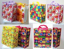 "Set of 2 Reusable Large Shopping Bag Grocery Tote Gift Bag 18"" Flower Design NEW"