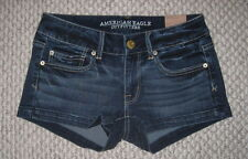 NWT AMERICAN EAGLE WHISKER WASH LOW RISE SHORTIE STRETCH DENIM JEAN SHORTS