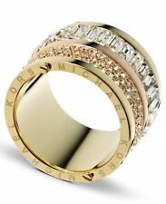 New MICHAEL KORS MKJ1907 Two-Tone Golden Barrel Ring w Crystal Pave & Baguettes