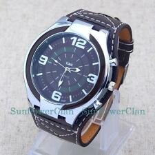 Fashion Big Leather Band Mens Boys Oversize Dial Sport Quartz Time Wrist Watch