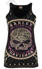 Harley-Davidson Ladies Foil Willie G. Skull Black V-Neck Skinny Strap Tank Top