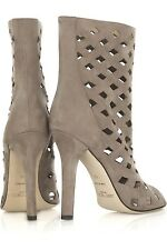 $1000 Jimmy Choo REESE Sexy Cutout Taupe Suede Open Toe Summer Boots EU 40 9.5