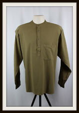 OLIVE KHAKI ~ COLLARLESS LONG SLEEVE GRANDAD SHIRT ~ 100% COTTON ~ M, L, XL, XXL