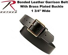 "Garrison Belt 1.75"" Bonded Leather With Gold Buckle Black Leather Belt 4262"