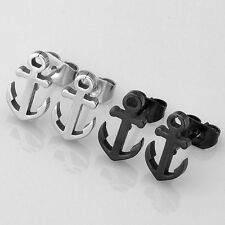 Pair Stainless Steel Sea Sailor Anchor Ear Rock Cool Womens Men's Earrings Studs