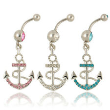 Rhinestone Anchor Dangle Button Barbell Belly Navel Ring Bar Body Piercing