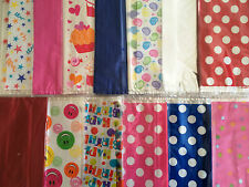 COLOURED CLEAR & PATTERNED CELLOPHANE PARTY BAGS CAKES SWEETS LOOT BAGS GIFT
