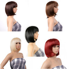 new bob style wig cosplay/ disco party short straight bang hair full wigs