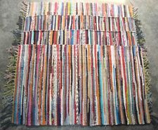 Hand Made Fair Trade Hand Loomed Indian Multi Coloured Rag Rug Chindi