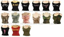 Womens Military Tank Top Slim Casual Lounging Tee Army Navy Marines SEXY