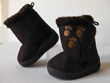 INFANT FIRST WALKER boys / girls faux suede snug boots. Faux Fur lined. BROWN