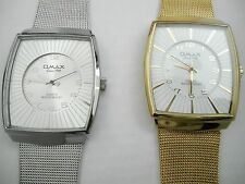 Omax Slim Watch Waterproof Mesh Band Square Face  Easy to Read Gold, Silver NIB