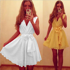 2 Colors Fashion Sexy Womens Lady Deep V-neck Chiffon Dress Bow Vest Mini Skirt