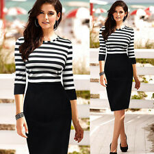 Women Celeb Pinup Striped Tunic Party Wear to Work Shift Sheath Pencil Dress NZT
