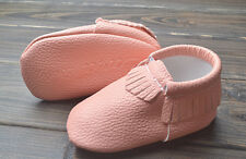New ZARA BABY Soft Sole Baby Girl Solid Peach Moccasin Shoes. Age 0-6, 6-12 Mths