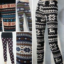 New Winter Warm Flocking Colorful Nordic Snowflake Pattern Sweater Leggings USA