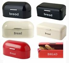 New Retro Vintage Bread Bin In Black Red Cream With Curved Top Square Top Enamel