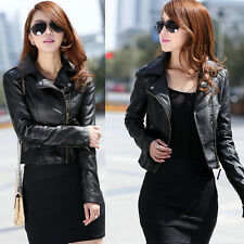 Womens Vintage Biker Motorcycle PU Soft Leather Slim Zipper Coat Jacket Outwear