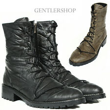MENS SHOES Wrinkle Pattern Lace Zipper Leather Boots HJ4796, GENTLERSHOP
