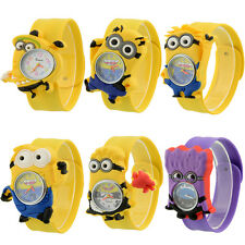 Minion Cartoon Child Quartz Kids Slap On WristWatch Unique Xmas Gift Boy/Girl