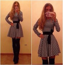 Women VTG Houndstooth High Waist Fit Flare Skater Prom Casual Party Club Dress R